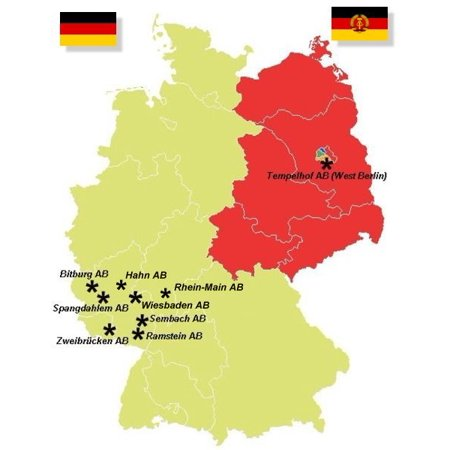 Map of the USAF air bases in West Germany during the Cold War as of 1975 Deutsch: Karte der Luftwaff Poster Print 24 x