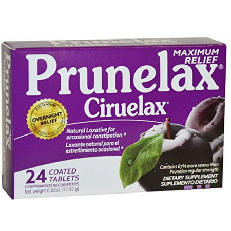 2 Pack - Prunelax Ciruelax Maximum Felief Natural Laxative for Occasional Constipation, Tablets 24