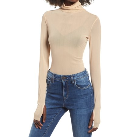 Womens Small Turtleneck Sheer Mesh Thumbhole Top S
