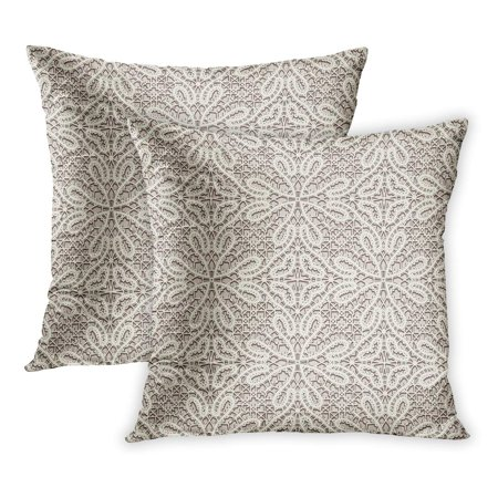 ECCOT Beige Crochet Vintage Tulle Tatting Lace Pattern Linen Abstract Antique Classic Curly PillowCase Pillow Cover 18x18 inch Set of 2