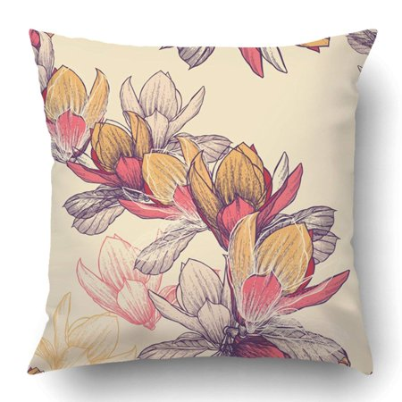 BPBOP Pink Vintage with Blooming Magnolia Flowers Hand Drawing Plant Spring Nature Old Composition Curl Pillowcase 18x18 inch