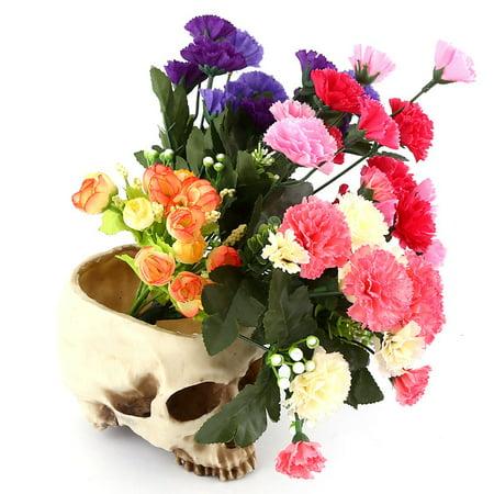 YLSHRF Skull Pot,1pc Resin Skull Head Design Flower Pot Planter Container Decoration, Skull Plant Pot