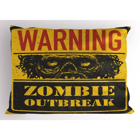 Zombie Pillow Sham Retro Warning Outbreak Horror Monster Sign in Vintage Grunge Illustration, Decorative Standard Size Printed Pillowcase, 26 X 20 Inches, Earth Yellow Grey Red, by Ambesonne
