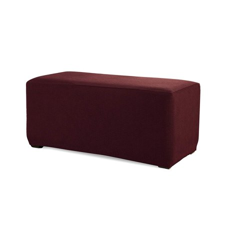 Subrtex Spandex Stretch Storage Ottoman Slipcover (Small, Wine)