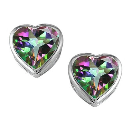 Star K 7mm Heart Shape Rainbow Mystic Quartz Heart Earrings Studs in Sterling (Mystic Star)
