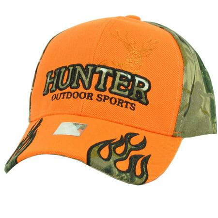 Hunter Outdoors Sports Orange Camouflage Camo Flames Hat Cap Adjustable Deer