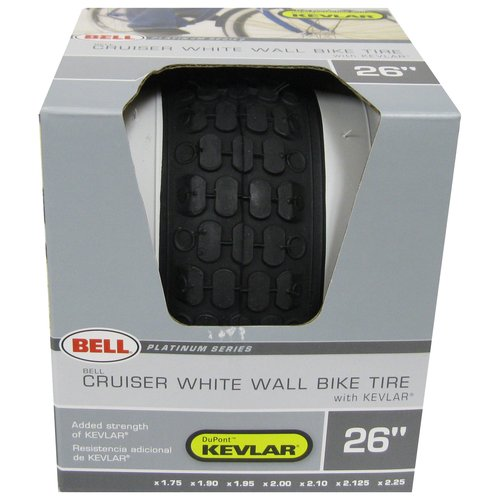 Bell 1007758 26in White Wall Bicycle Tire Kevlar, Black