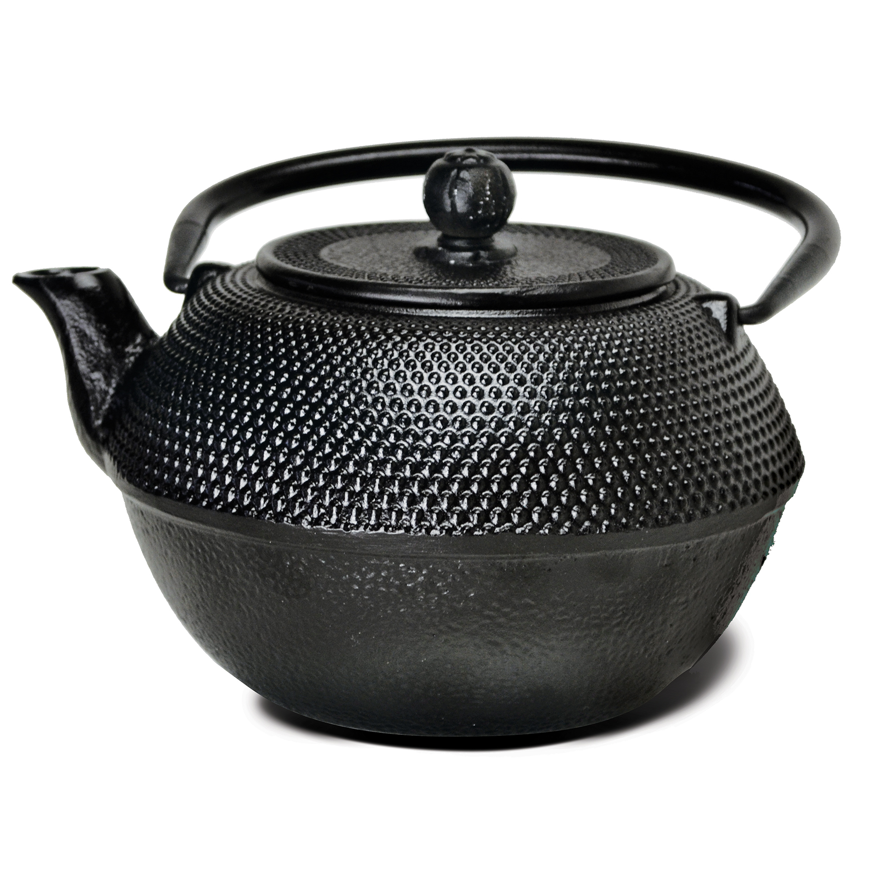 Primula Hammered 36 Oz. Cast Iron Teapot With Enameled Interior And Stainless Steel Loose Leaf Tea Infuser (Box) - Black