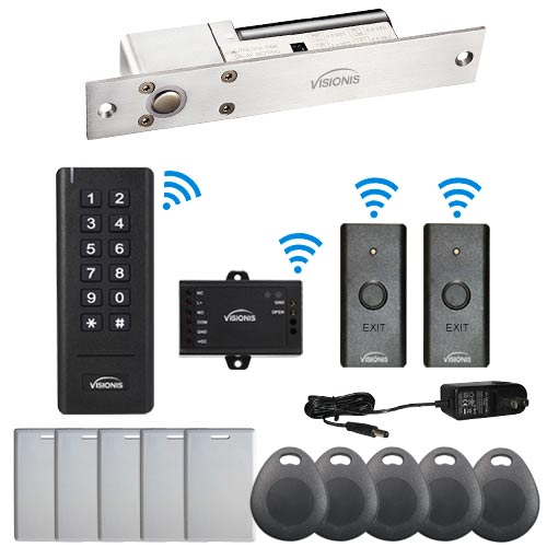 Visionis FPC-6355 Black Indoor One door Access control Outswing Door Wireless Keypad Reader Wireless Exit Button Wired 1700lbs Electric Drop Bolt NC 500 Users 50 feet range Standalone No software Kit