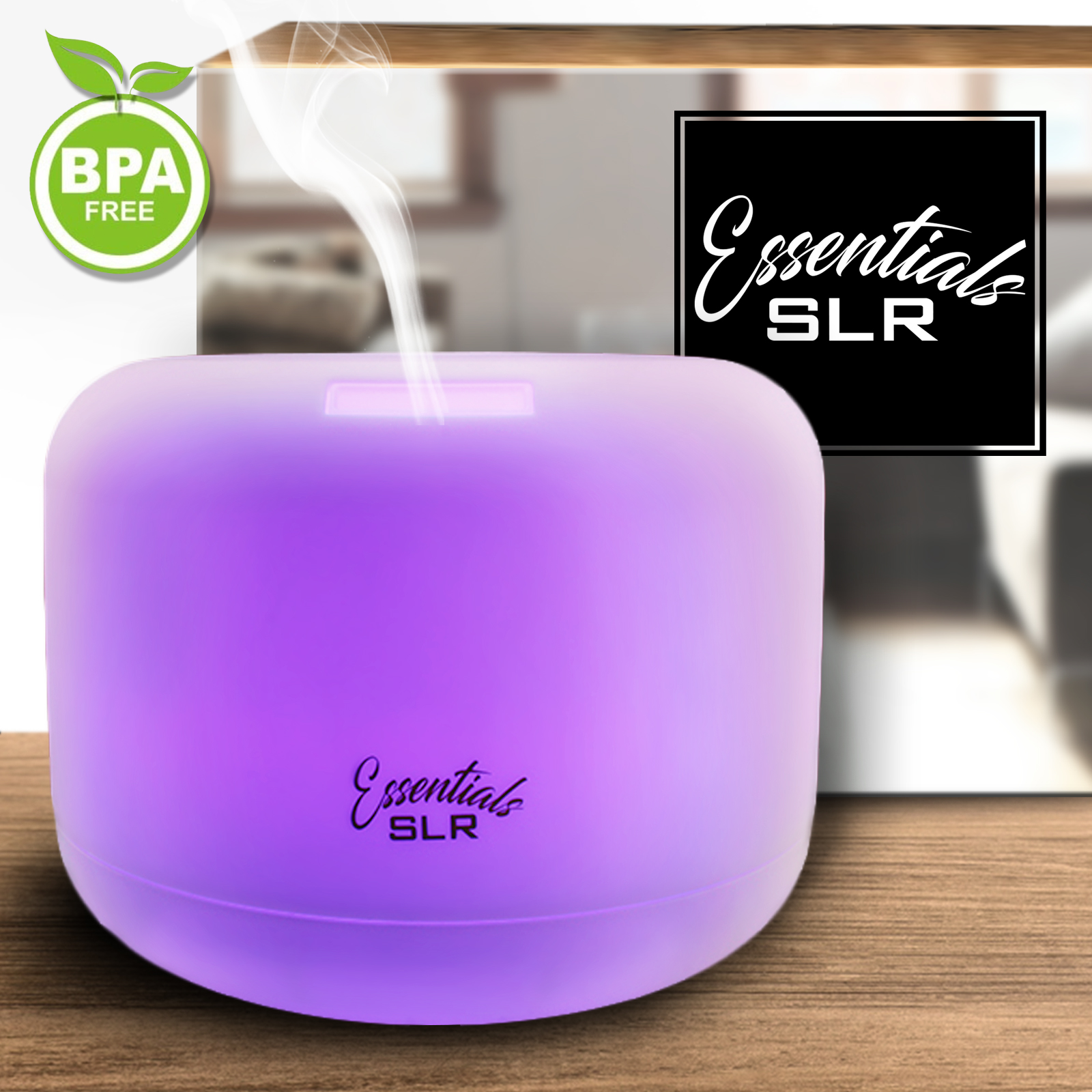 SLR 500ml Aromatherapy Essential Oil Large Diffuser BPA Free Ultrasonic Air Humidifier with Multi-Color Changing LED, Auto Shut-Off