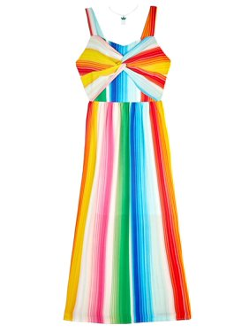 0032e684ec2 Product Image Rainbow Stripe Twist Front Maxi Dress with Necklace (Big Girls )