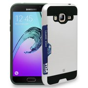GALAXY J3 CASE, WHITE CREDIT CARD SLOT HARD WALLET SHELL CASE COVER FOR SAMSUNG GALAXY J3 J320A
