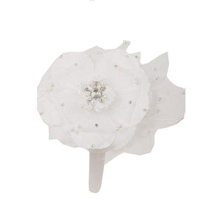 Kids Dream Girls Off-White Flower Rhinestone Pearl Feather Satin Headband