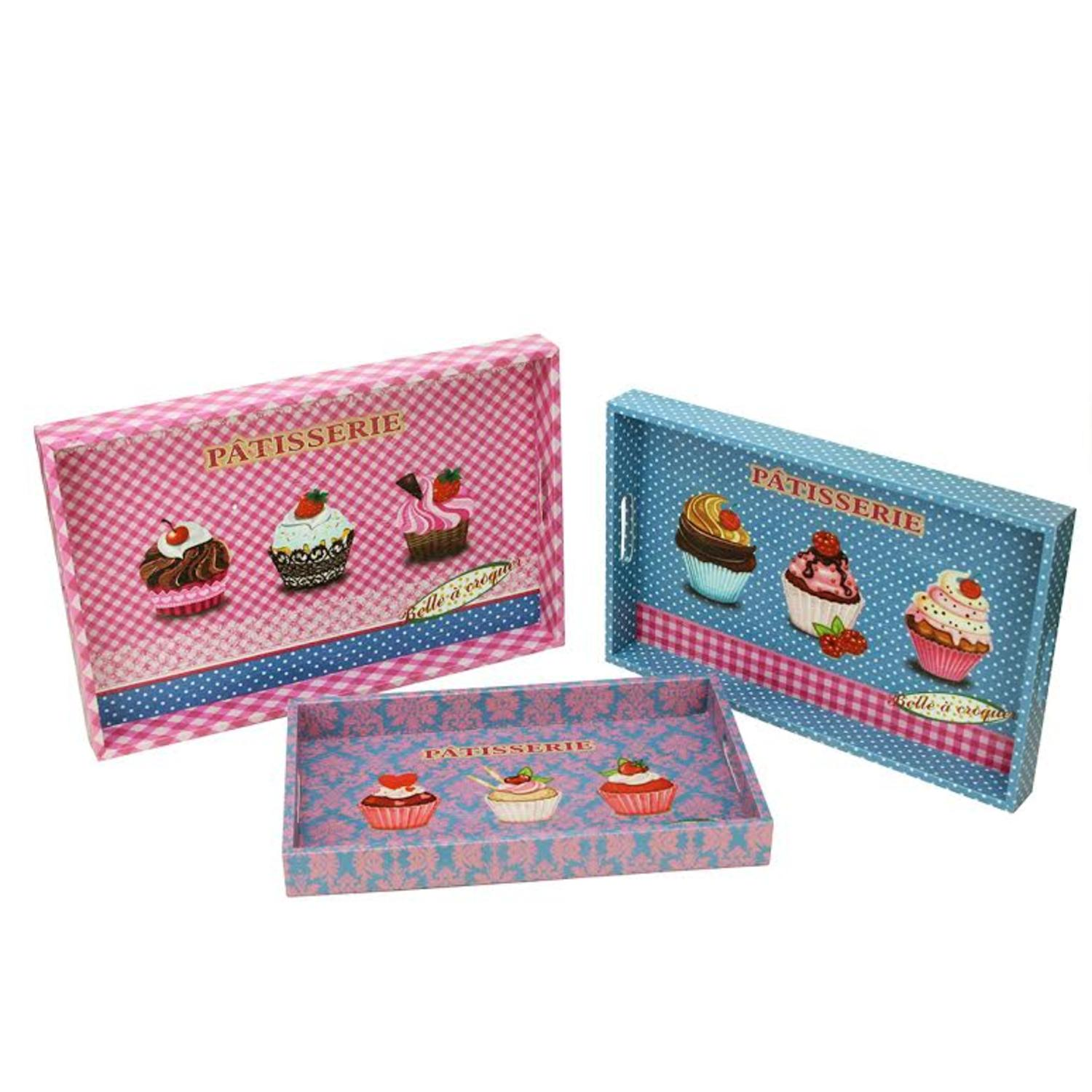 Set of 3 Decorative Pink and Blue Patisserie and Cupcakes Wooden Rectangular Serving Trays