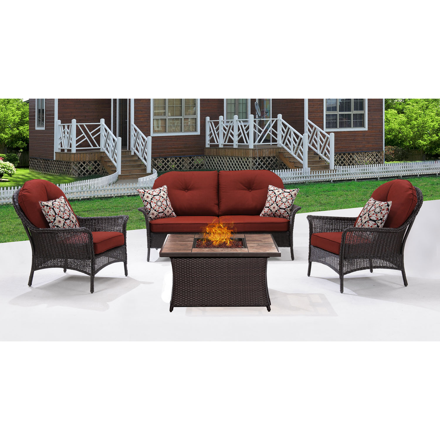 Hanover San Marino 4-Piece Woven Fire Pit Set with Faux-Stone Tile Top