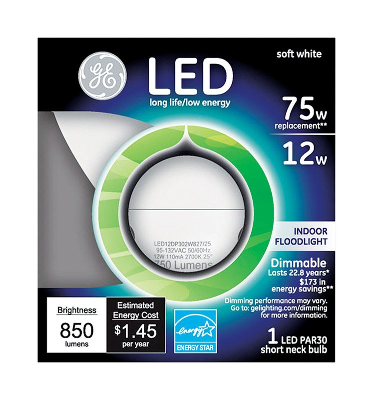 GE Lighting 96843 Dimmable PAR30 LED Bulb, Soft White, 850 Lumens, 2700K, 12W
