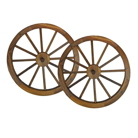 24 in Steel-rimmed Wooden Wagon Wheels - Decorative Wall Decor, Set of Two (Oak Wagon Wheel)