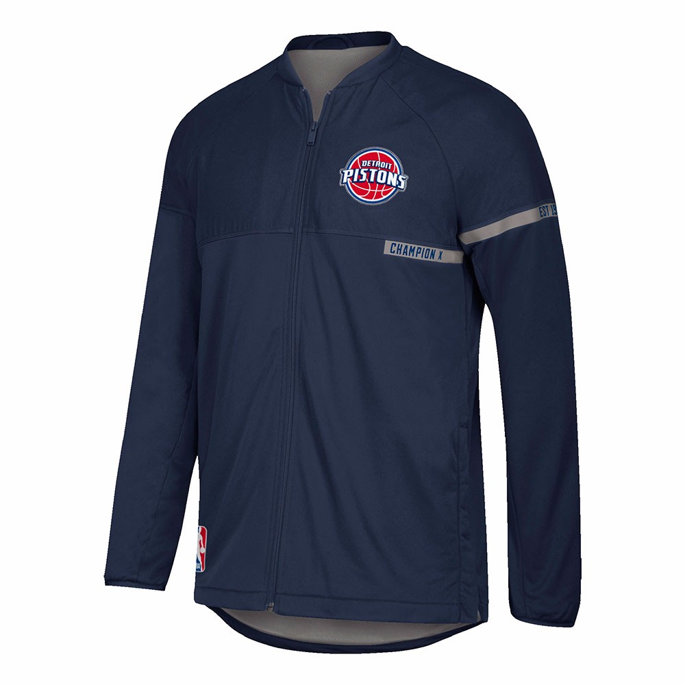 Detroit Pistons NBA Adidas Navy Blue 2016-17 Authentic On-Court Team Issued Pro Cut Jacket For Men