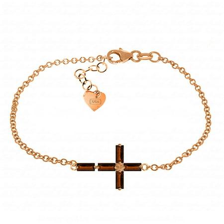 ALARRI 1.15 CTW 14K Solid Rose Gold Cross Baguette Garnet Bracelet Size 8 Inch Length.