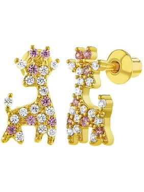In Season Jewelry 18k Gold Plated Pink Clear CZ Giraffe Screw Back Earrings for Girls
