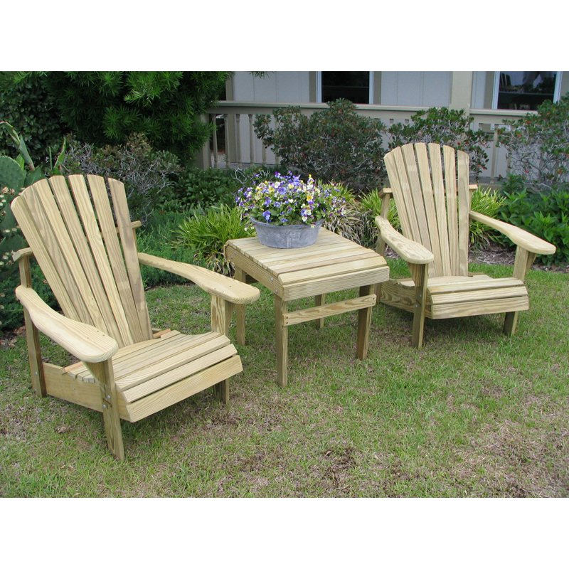 Weathercraft Designers Choice Yellow Pine Adirondack Chair 3-pc. Set - 2 Chairs and 1 Table