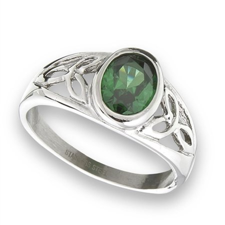 New Stainless Steel Oval Emerald Green CZ Celtic Knot Ring  Sizes 6 - Emerald Celtic Knot