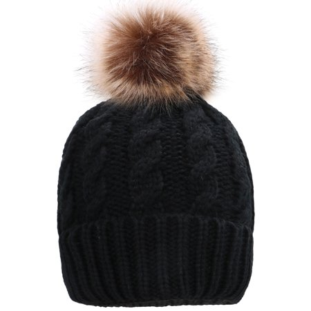 7c2d4c0acf4e8 Simplicity Men   Women s Winter Hand Knit Faux Fur Pompoms Beanie Hat Black  - Walmart.com