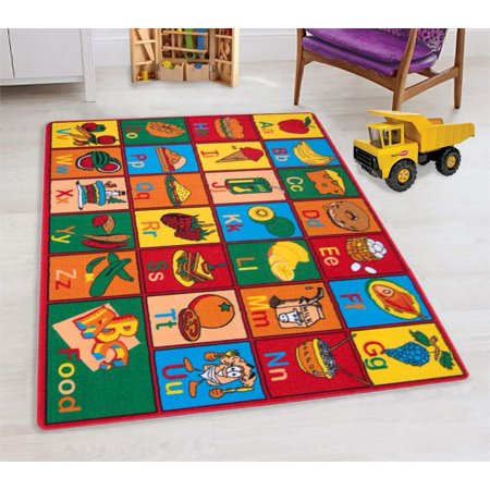 - Teaching ABC Food/Fruits Kids Educational Play mat for School/Classroom / Kids Room/Daycare/ Nursery Non-Slip Gel Back Rug Carpet