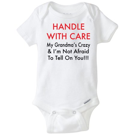 Baby Novelties (Handle With Care Crazy Grandma Funny Novelty Baby Onesie Clothes Bodysuit (0-3)