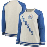 Kansas Jayhawks Pressbox Women's Plus Size Sundown Vintage Pullover Hoodie - Cream/Royal