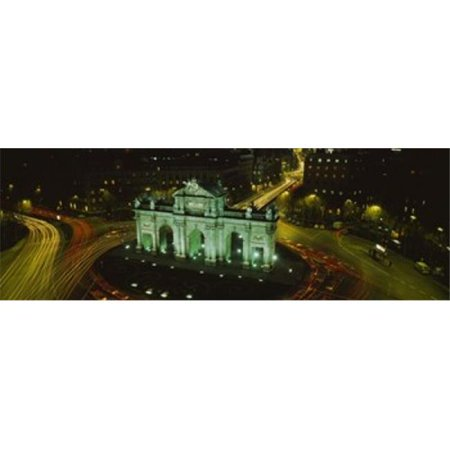 High angle view of a monument lit up at night  Puerta De Alcala  Plaza De La Independencia  Madrid  Spain Poster Print by  - 36 x 12 - image 1 of 1