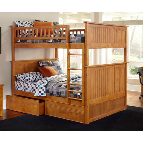 Full Over Full Bunk Bed with Flat Panel Drawers in Caramel Latte