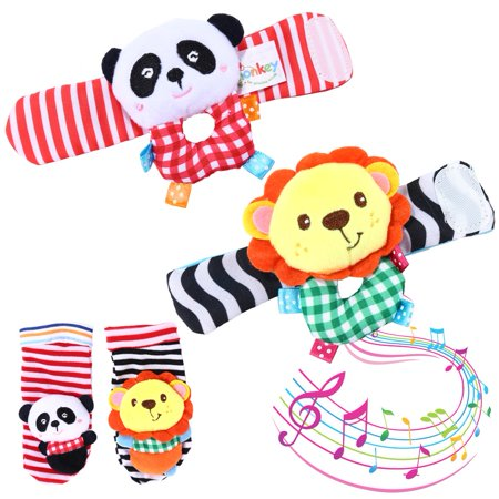 - Coolmade Baby Sock Rattle, 4pcs Wrist Rattle and Foot Toys Set, Toddler Soft Animal Toys Lion and Panda