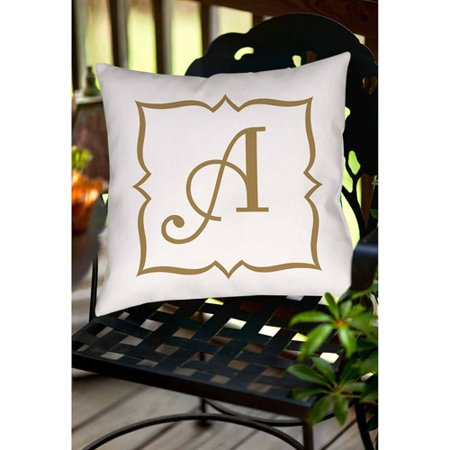 Gold Decorative Toss Pillow - Thumbprintz Gold Script Monogram Decorative Pillows