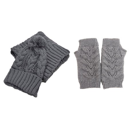 Cable Knit 3 Piece Beanie Hat Texting Gloves   Matching Scarf Set