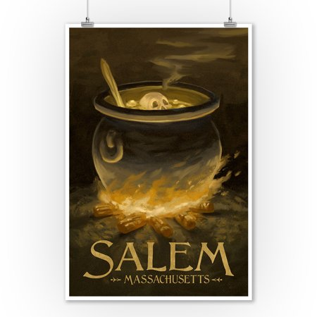 Salem, Massachusetts - Cauldron - Halloween Oil Painting - Lantern Press Artwork (9x12 Art Print, Wall Decor Travel Poster) (Halloween Prints)