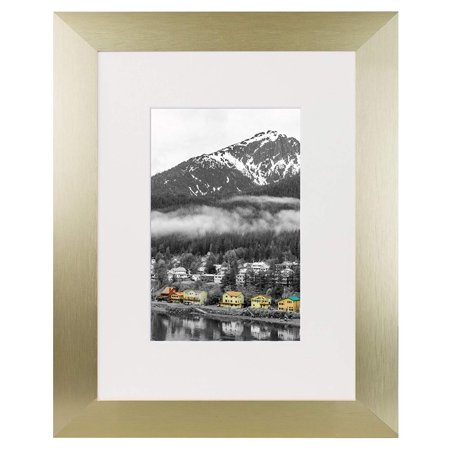 Golden State Art, 8x10 Gold Color Satin Aluminum Landscape Or Portrait Picture Frame With Ivory Color Mat and Real - Indoor Satin Aluminum Frame