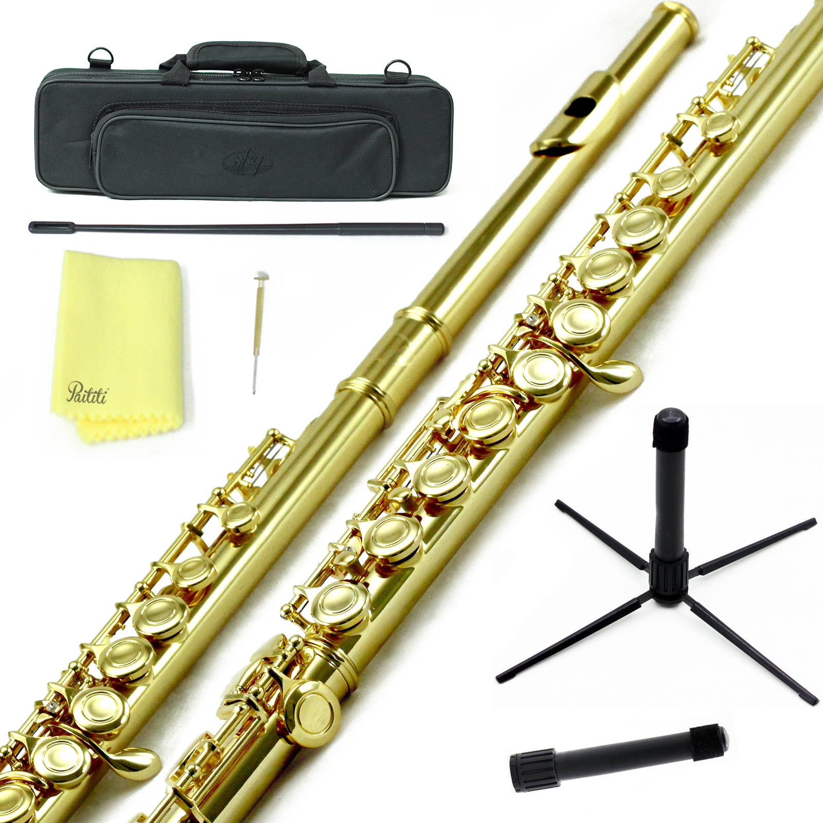 Sky Closed Hole C Flute with Lightweight Case, Cleaning Rod, Cloth, Joint Grease and Screw Driver - Gold