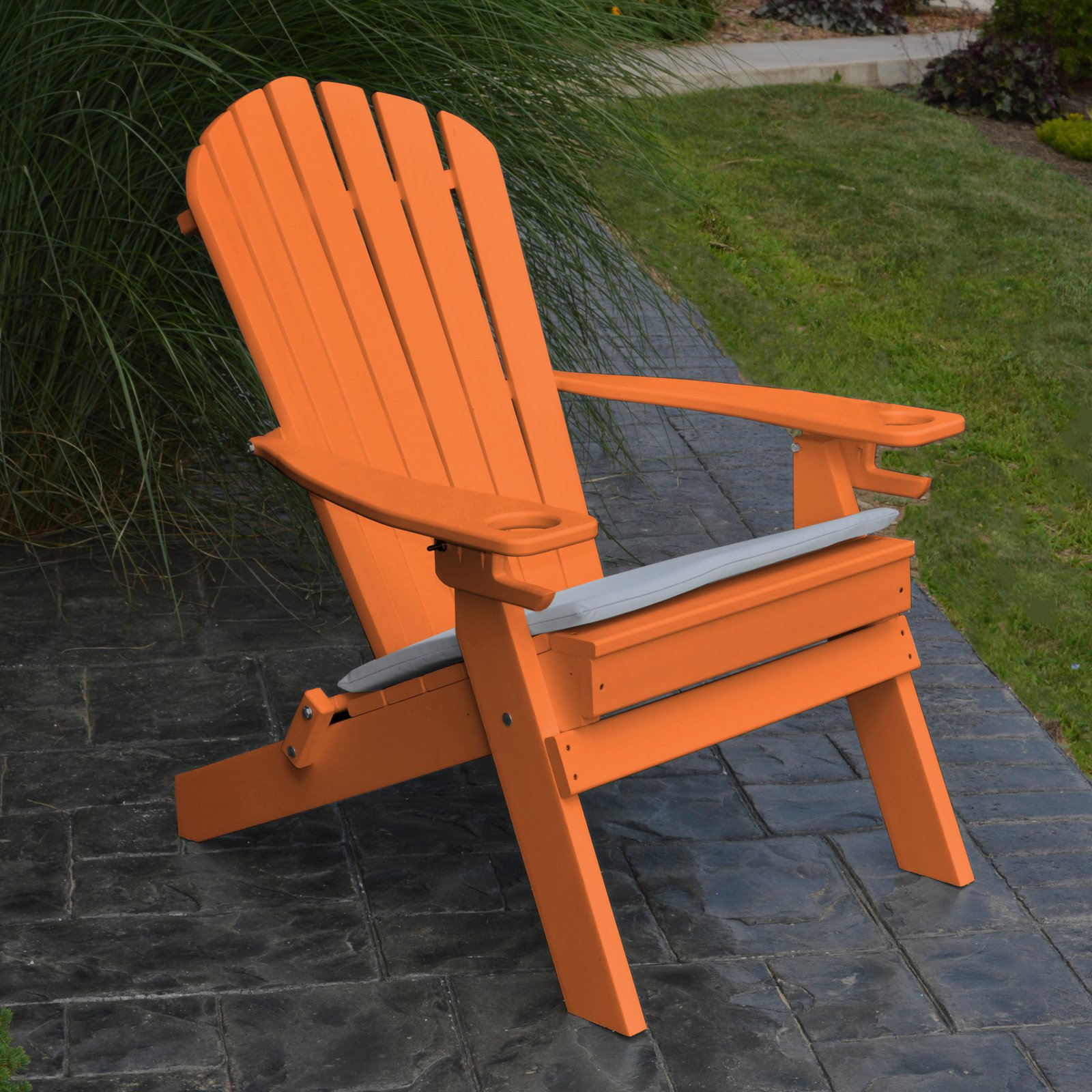 A & L Furniture Folding Recycled Plastic Adirondack Chair with 2 Cup Holders by A&L Furniture