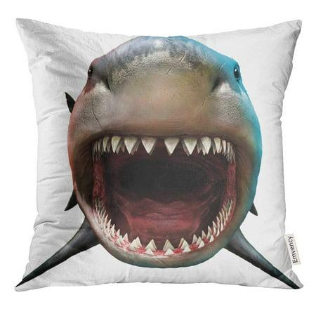 CMFUN Bite Shark Biting 3D Front Teeth Megalodon Attacking Pillow Case 16x16 Inches Pillowcase
