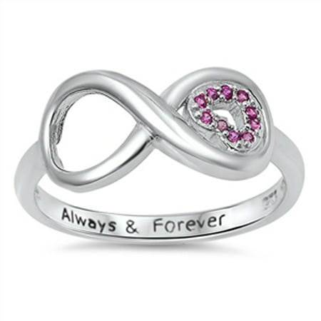 Infinity Heart Always & Forever Simulated Ruby Promise Ring Sterling Silver Size 11