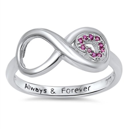 Infinity Heart Always & Forever Simulated Ruby Promise Ring Sterling Silver Size - Italian Ruby Ring