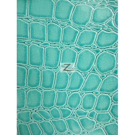 Vinyl Faux Fake Leather Pleather Embossed Shiny Alligator Fabric / Mint / Sold By The Yard