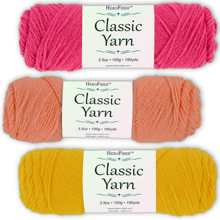 Soft Acrylic Yarn 3-Pack, 3.5oz / ball, Red Grenadine + Pink Coral + Yellow Sun. Great value for knitting, crochet, needlework, arts & crafts projects, gift set for beginners and pros