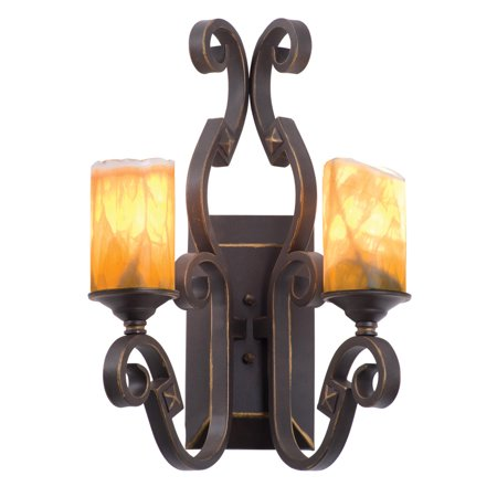 Wall Sconces 2 Light With French Cream Finish Hand Forged Iron E26 16 inch 200