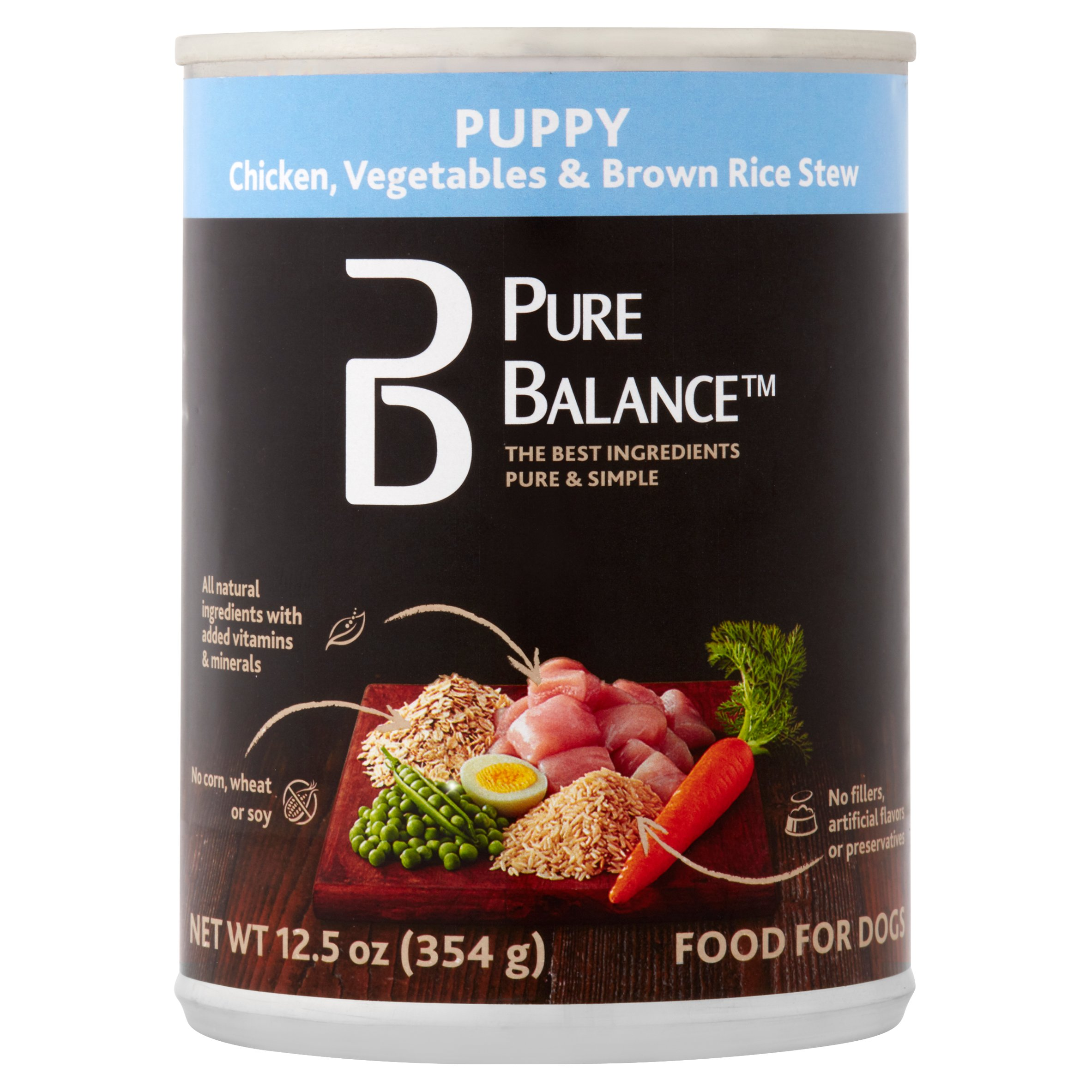 Pure Balance Canned Chicken Vegetables & Brown Rice Stew Wet Puppy Food, 12.5 Oz