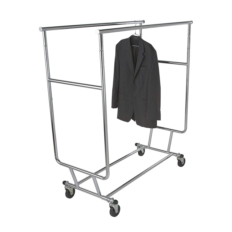 Econoco Single Hangrail Rolling Clothes Rack Heavy Duty Square Tubing Clothi...