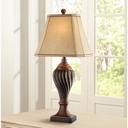 Regency hill traditional table lamp carved two tone brown - Traditional table lamps for bedroom ...