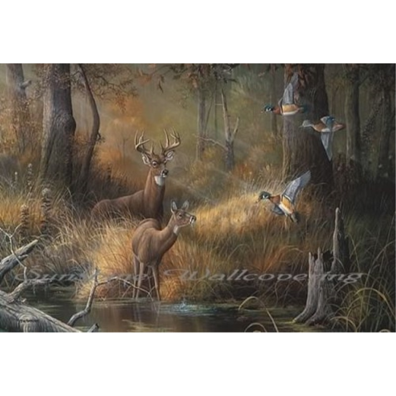 (99x164) October Memories Deer Ducks Hunting Huge Wall Mural
