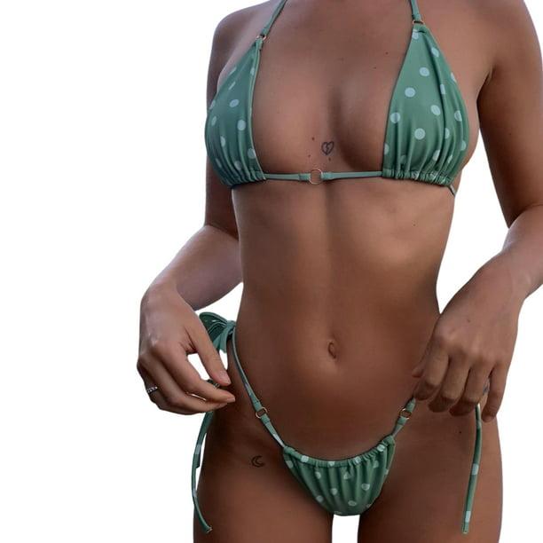 New Women/'s Padded Tie Bra Halter Bikini Set Teal Brown Yellow Bathing Swimsuit